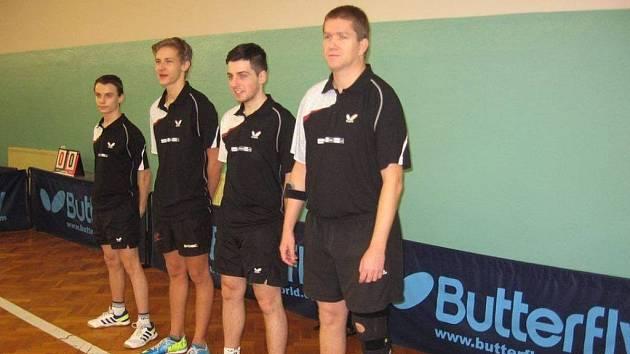 Stolní tenisty Pedagogu čeká klíčový víkend: zleva Filip Kortus, Pavel Škopek, Pavel Kortus a Jan Janda.