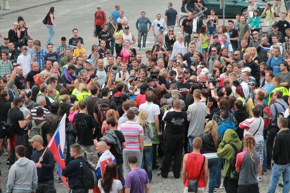 Protest na náměstí Přemysla Otakara II.