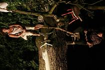 Divadlo Continuo uvedlo okolo rybníka Otrhanec u Malovic na Prachaticku předdstavení Grus grus. Herci při něm musí zvádnout i sedět vodorovně v korunách stromů.