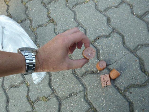 Smrtelné nebezpečí představují tyto návnady spichlavými předměty, které českobudějovičtí strážníci našli pohozené ve Stromovce a vparku na Plzeňské ulici.