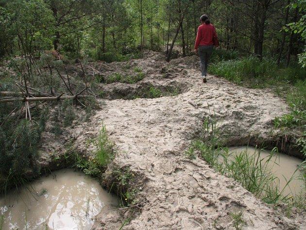 Po kopáčích vltavínů zůstávají kromě plastových lahví a kbelíků především nezasypané hluboké jámy a kolem nich hromady kluzkého jílu.