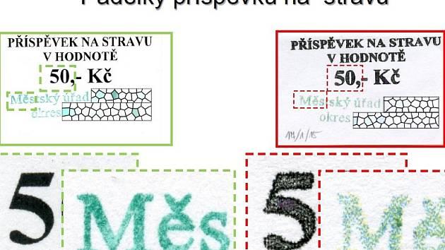 Falešných stravenek se v jednom městě na jihu Čech objevilo celkem 208 kusů. Vlevo jsou originály vydávané městským úřadem, vpravo pak padělky. Jejich původ kriminalisté nyní objasňují.