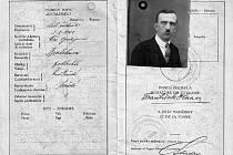 Cestovní pas Františka Haana, platný ve 20. letech 20. století