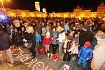 Oslavy 17. listopadu na českobudějovickém náměstí Přemysla Otakara II.