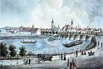 Dřívější podoba Dlouhého mostu z první poloviny 19. století.
