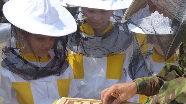 Jak dobře se malí hlubočtí včelaři starali o své včely se ukázalo minulý týden. Před sebou měli vůbec první stáčení medu. S tím jim pomáhal Milan Fišer (na snímku).