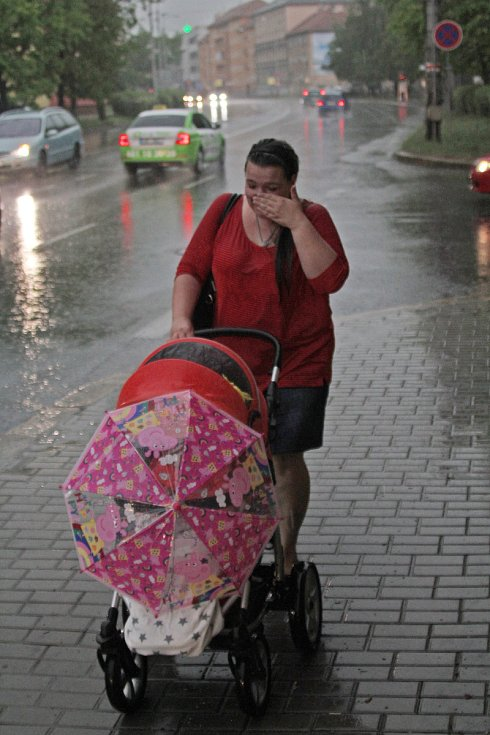 Silný déšt v Českých Budějovicích