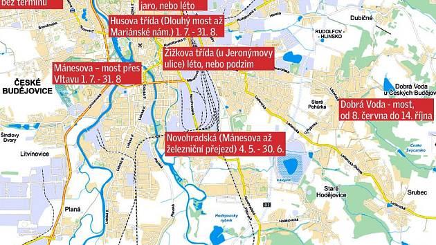 Uzavírky plánované v létě. Na mapu se nevešla uzavírka okružní křižovatky v Novém Roudném a v Roudném, která potrvá od 1. 7. do 31. 8.