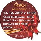 Česko zpívá koledy v MHD a na zastávce před hlavní poštou.