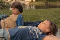Harris a Tomáš leží na trávníku na českobudějovickém Sokolském ostrově.