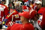 Dominik Hašek odjíždí zraněný z ledu