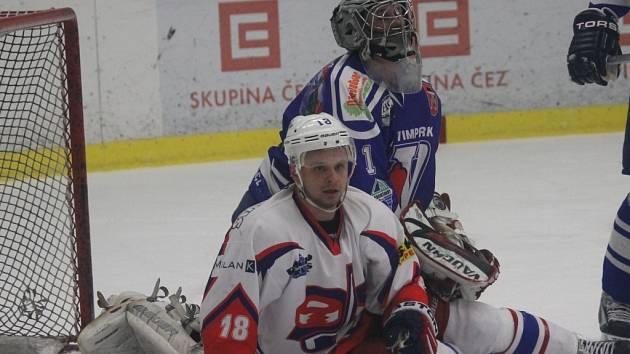 Hokejový David servis svedl v krajské lize bitvu s Vimperkem, zápas rozhodly až nájezdy (4:5).