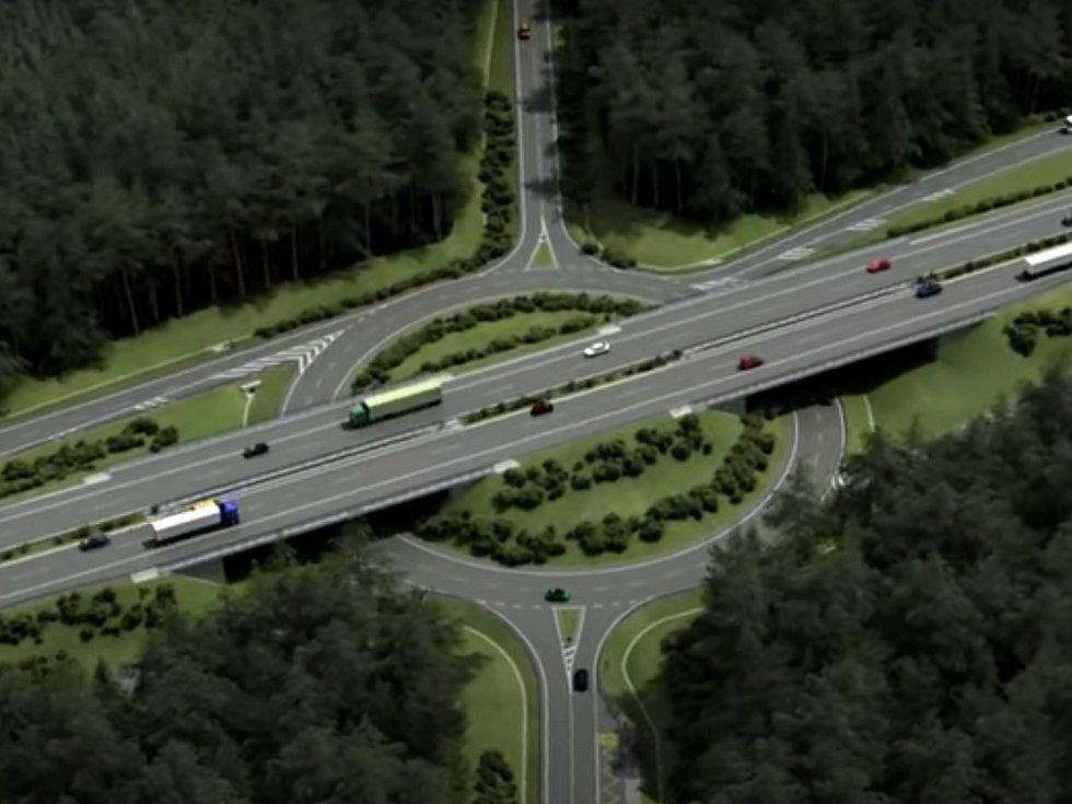 Vizualizace křižovatky Kaplice Nádraží, která spojí D3 se silnicí od Českého Krumlova na Trhové Sviny.