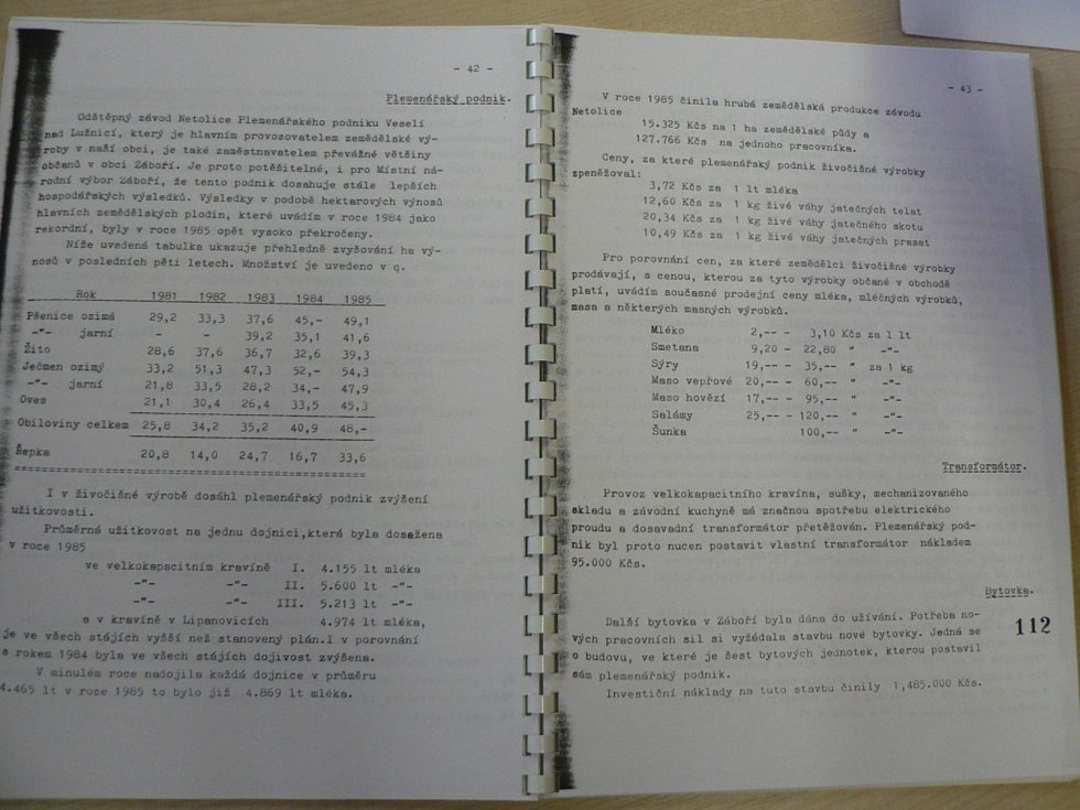 Kronika Záboří se zápisem cen zemědělských produktů.