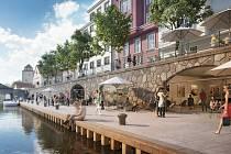 Architektonická studie Město a voda se zaměřuje na klíčová území, jako je centrum města, tj. Zátkovo nábřeží, Mlýnská stoka v parku Na Sadech či prostor Vltavy mezi českobudějovickým výstavištěm a sportovním areálem SKP. Zdroj: Atelier 8000.