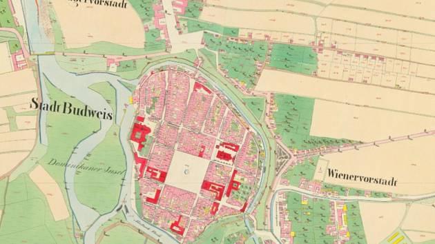 Stará katastrální mapa Českých Budějovic.
