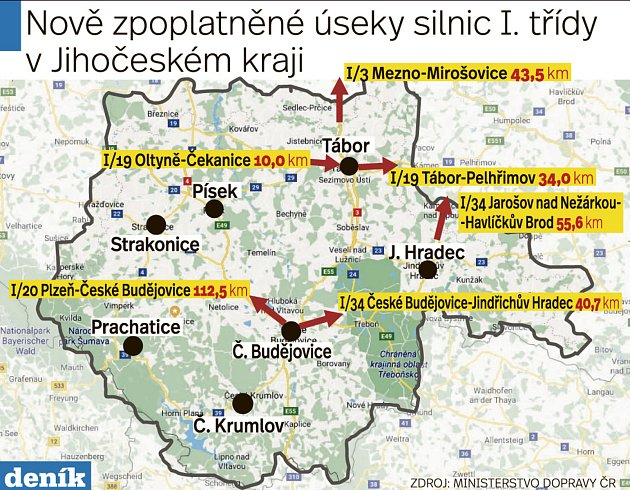 Nově zpoplatněné úseky silnic I. třídy vJihočeském kraji.