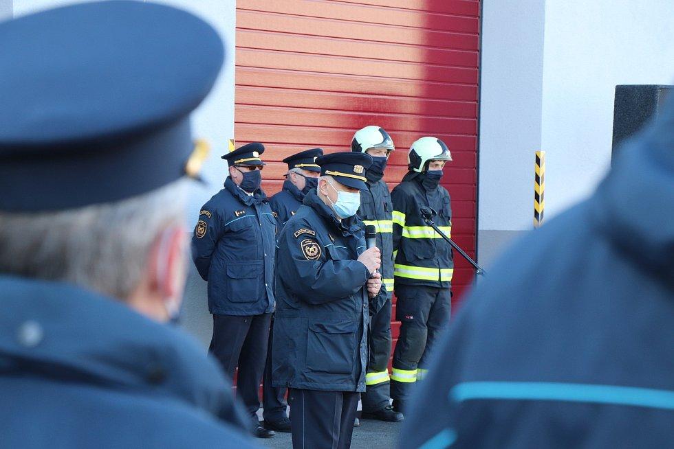 Otevření nových garáží českobudějovických hasičů.