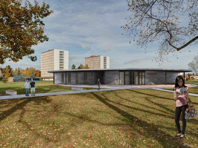 Studentský klub a Centrum pro handicapované studenty (vizualizace napovídá, jak bude stavba vypadat) začne v univerzitním kampusu ve Čtyřech Dvorech růst už příští měsíc.