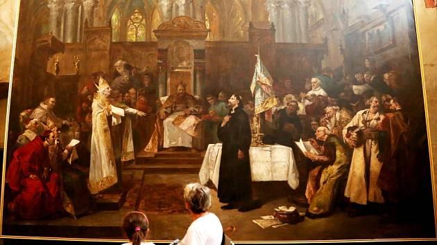 Husitské muzeum v Táboře připomíná mimořádnou výstavou fenomén kazatele Jana Husa, od jehož upálení uplynulo 600 let. Na snímku plátno Václava Brožíka, zachycující Jana Husa na koncilu v Kostnici.