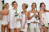 Módní přehlídka Nulový odpad 07, na snímku modely z tématického celku nazvaného hedvábí a biodegrababilní fólie, byla součástí slavnostníího vyhlášení 2. ročníku soutěže Miss kompost na výstavě Země živitelka.