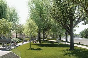 Radnice chystá revitalizaci parku v Dukelské ulici v Českých Budějovicích. Na snímku budoucí podoba.