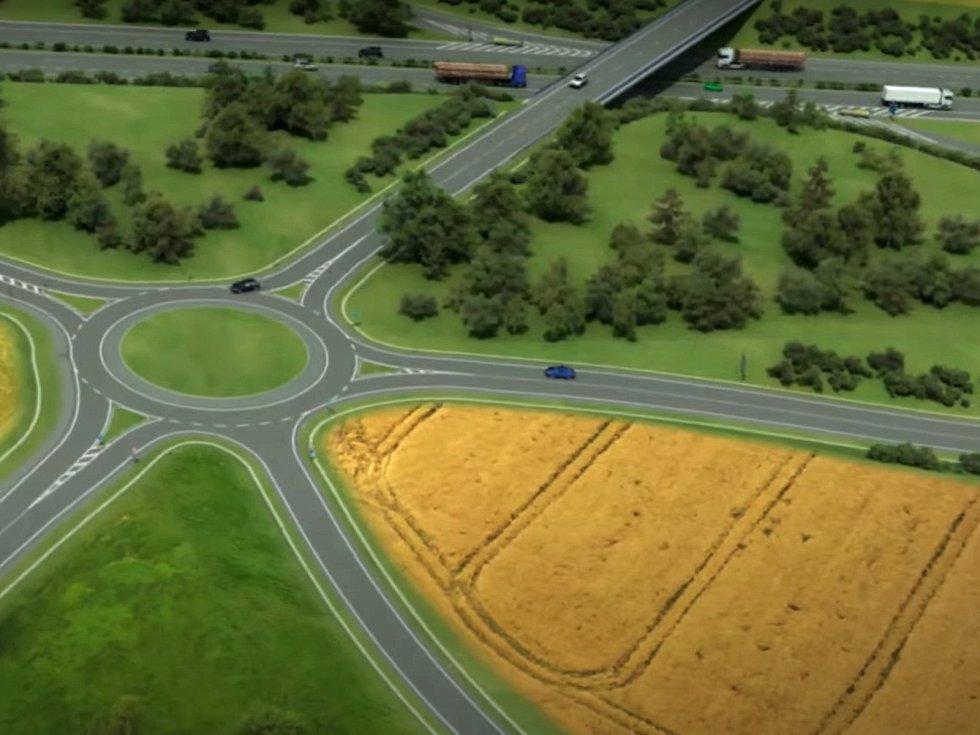 Vizualizace mimoúrovňové křižovatky Krasejovka, která na D3 napojuje současnou silnici I/3.
