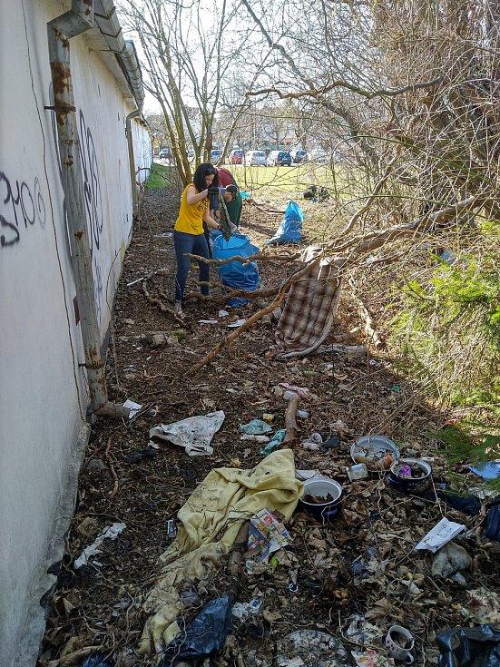 Dobrovolníci z českobudějovického uskupení Trash Hero uklízí město.