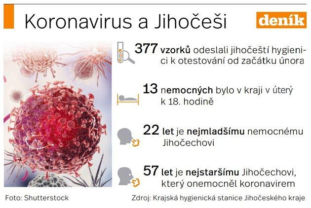 Situace svýskytem koronaviru na jihu Čech.