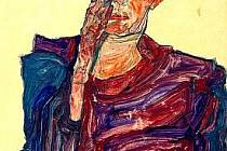 Egon Schiele na autoportrétu.