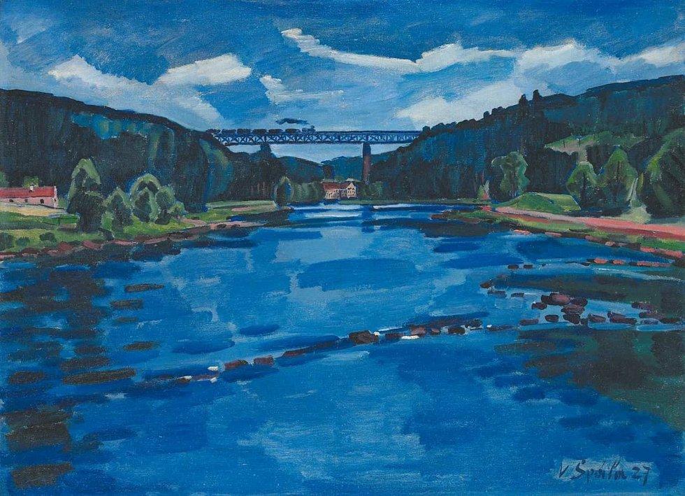 Krásný most zaujal i známého malíře Václava Špálu. Jeho obraz Krajina u Červené nad Vltavou z roku 1927 je v majetku Muzea umění Olomouc.
