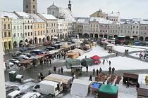 Vánoční trhy na náměstí Přemysla Otakara II. v Českých Budějovicích.