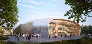 SKLO. Prosklené východní průčelí  má mít nová hala v českobudějovické Stromovce. Investice má vyjít město na 312 milionů korun bez DPH. Objekt nabídne dvě palubovky.