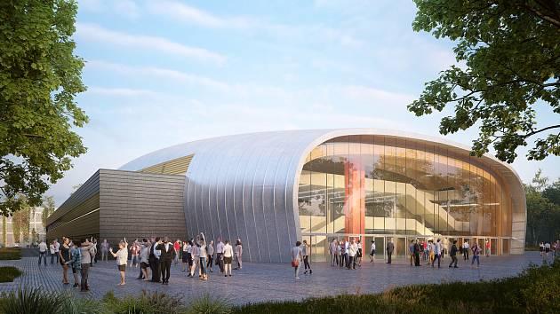 SKLO. Prosklené východní průčelí  má mít nová hala v českobudějovické Stromovce.  Objekt nabídne dvě palubovky.