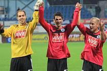 Z vítězství nad Příbramí se radují Zdeněk Křížek, Petr Javorek a Grigorij Čirkin.