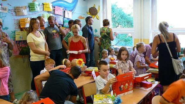 První školní den v ZŠ Boršov nad Vltavou.
