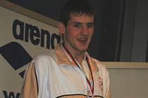 Karel Baloun se stříbrnou medailí ze zimního mistrovství republiky dorostu v Chomutově.