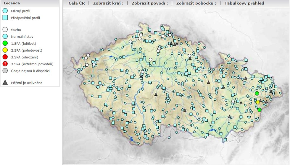Výstražné informace Český hydrometeorologický ústav srážky stav vodních toků v sobotu dopoledne.