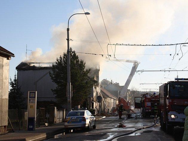 Požár v Lidické třídě v Českých Budějovicích 24. 12. 2015