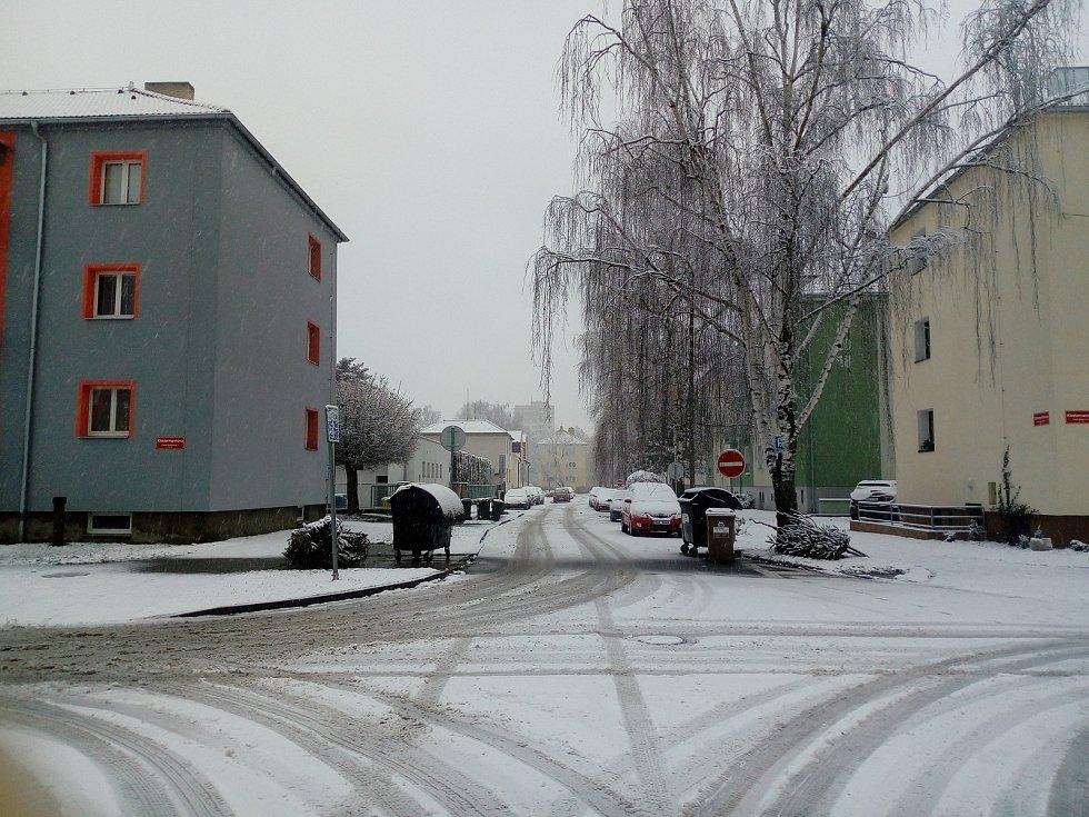 Sníh v Českých Budějovicích 6. 1. 2021.