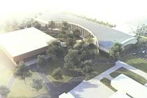 Nový pavilon T (budova vpravo na snímku) má vyrůst na českobudějovickém výstavišti.