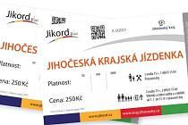 Jihočeská celokrajská jízdenka Jikord Plus.