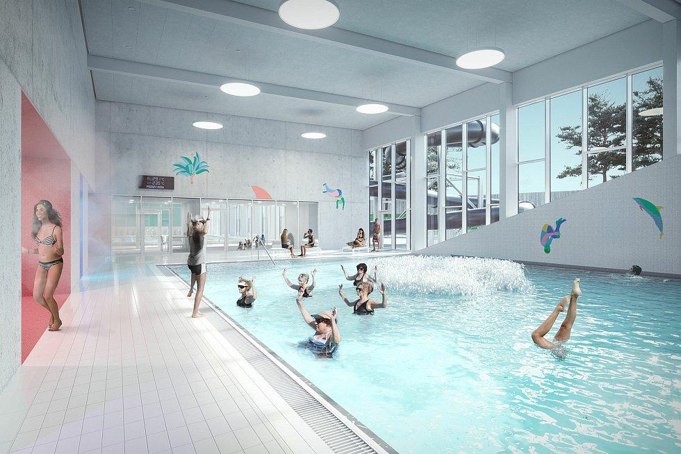 V lokalitě pod lesnickou školou v Písku má vzniknout vnitřní bazén s venkovním areálem a wellness. Foto: archiv města Písek
