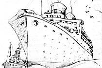Jihočeské divadlo připomene projektem Archa naděje tragickou plavbu českých Židů z roku 1940, kdy se loď Patria potopila u břehů Haify. Na snímku kresba lodi z deníku Karla Brandýse, jednoho z přeživších.