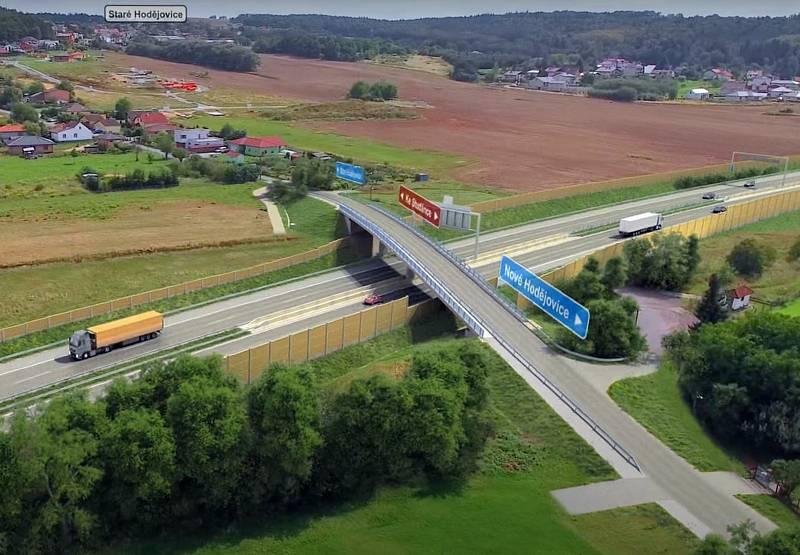 Vizualizace D3. Ulice Ke Studánce bude přes dálnici převedena po novém mostě.