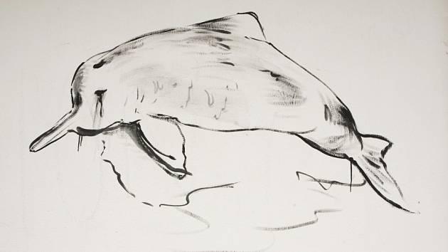 Hřbitovní Galerie Na shledanou ve Volyni připomíná kolektivní malbou na stěnách zvířata, která člověk vyhubil zejména za posledních 100 let. Na snímku delfínovec čínský, autor Josef Bolf.
