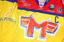 V tomto dresu, jehož základ namalovaly děti z Arpidy, nastoupí v pondělí hokejisté ČEZ Motoru proti Prostějovu.