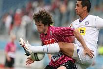 Utkání Gambrinus ligy mezi týmy SK Dynamo České Budějovice a 1.FC Brno a.s. Tomáš Sedláček a Martin Živný