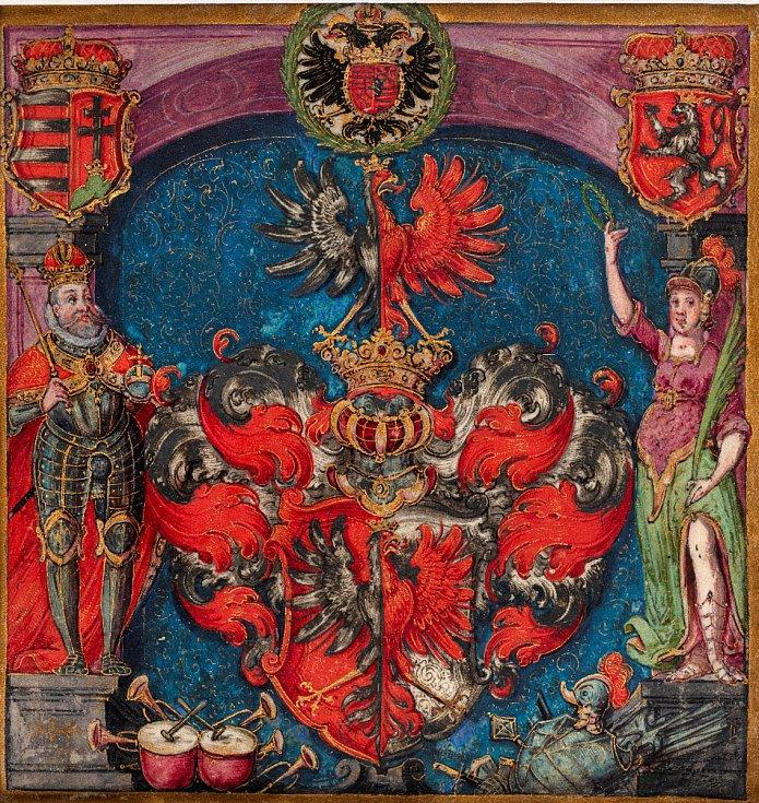 Pražský malíř okolo roku 1600: Erb (výřez) z erbovního privilegia neznámé osoby (soukromá sbírka v ČR)