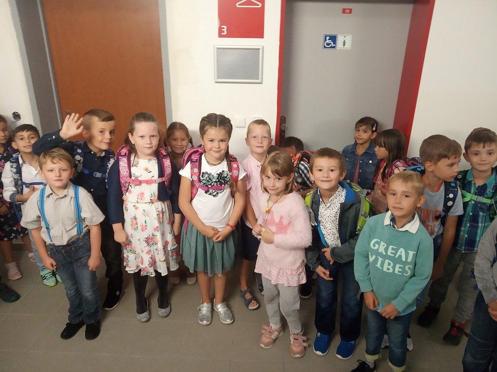 Noví žáci 1.B na základní škole Oskara Nedbala v Českých Budějovicích.